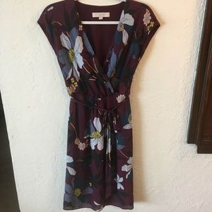 Loft by Ann Taylor Belted Floral Cap Sleeve Dress